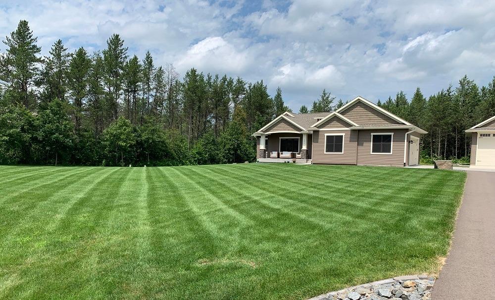 healthy lawn with fertilizer