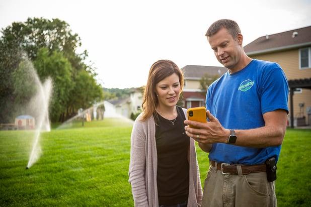 customer using lawn irrigation app