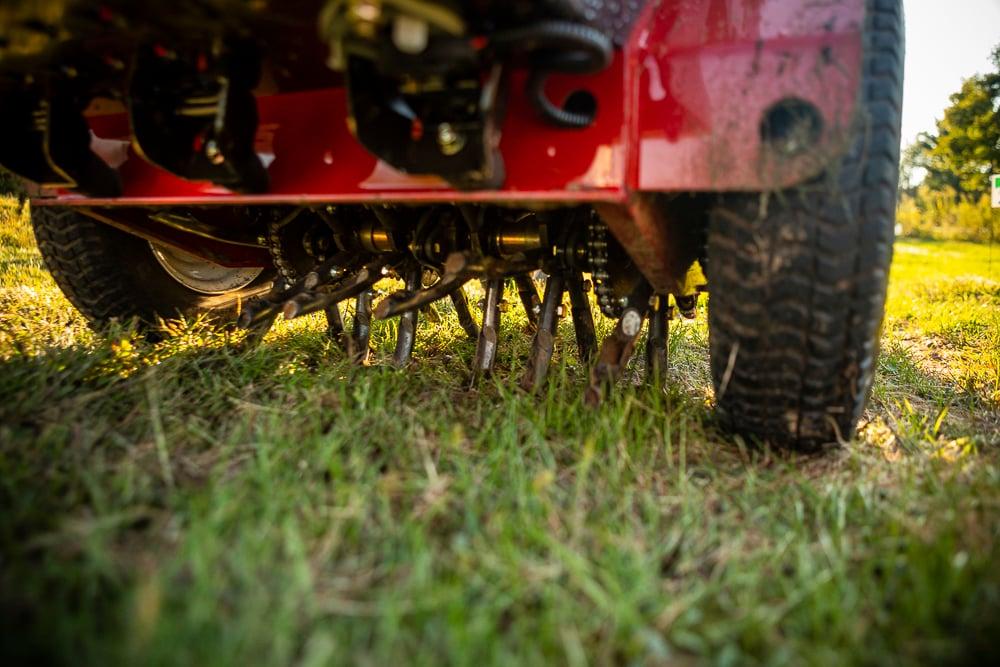 lawn aeration close up