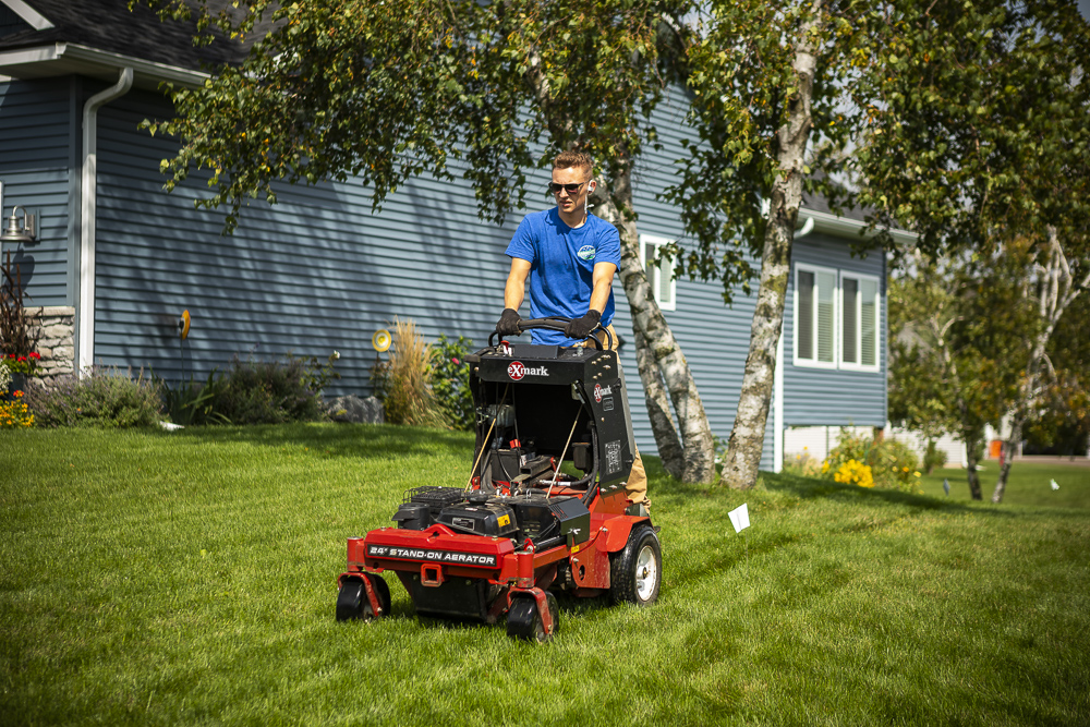 professional lawn aeration to get rid of lawn disease