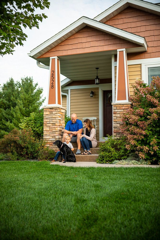 Healthy lawn and customers with dog