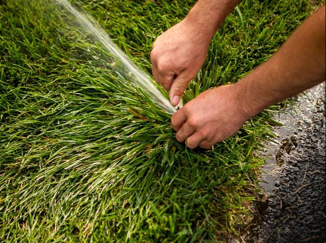 Irrigation team working on a sprinkler head